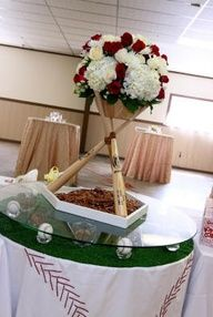 baseball themed grooms table | Floral Baseball Bat Table Centerpiece - Wedding Reception