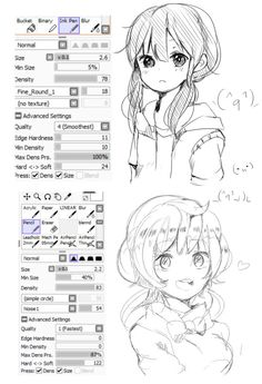 @http://bakafukurouu.tumblr.com/hhello..a-actually I used so many brushes for sketch thing but I love to use these two more . Sometimes I also use them as lineart (lol) also default pen !!! (I think  pencil is also default?? idk )  my stabilizer is always around 9 -13 :D you can also play along with the settings so you can also use them for coloring stuffs!! I hope this one helps ! :D