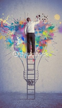 Foto stock : Man paints a creative business idea light