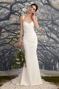 nicole miller spring 2016 bridal strap scallop neckline stretch crepe de  chine v neck sheath wedding dress tonya -- Nicole Miller Bridal Spring 2016  Wedding ... 093d13b8a096