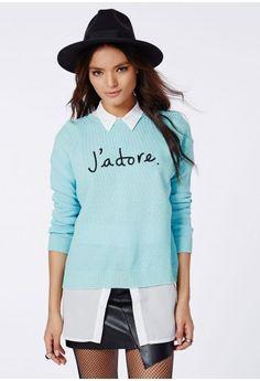 Henrieta J'Adore Print Knitted Jumper In Blue | Missguided