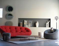 Ploum sofa by Ronan and Erwan Bouroullec; Pumpkin armchair by Pierre Paulin. #InteriorDesign.