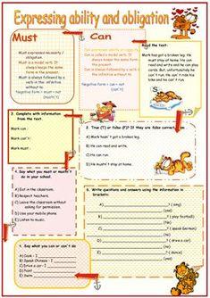 Modal verbs - can must - worksheet