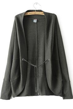 Black Long Sleeve Drawstring Knit Sweater 33.00