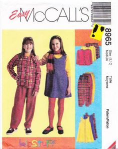 McCalls 8965 Girls' Jacket, Jumper, Pull-on Pants Sewing Pattern 8-10 Uncut
