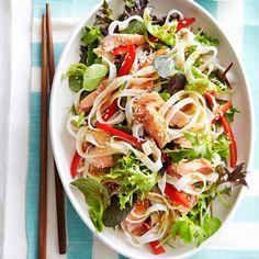 Hot smoked salmon and teriyaki noodle salad | Healthy Recipe | Weight Watchers AU
