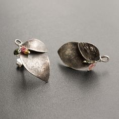 Stud Earrings with Tourmaline Stones