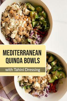 Healthy & Easy Mediterranean Quinoa Bowls with Tahini Dressing #vegetarian #easyrecipe #quinoa #grainbowl
