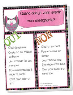 Rapporter oui ou non? Rapporter oui ou non? Classroom Organisation, Classroom Management, Social Emotional Learning, Social Skills, French Classroom, Behaviour Management, Parent Communication, Classroom Posters, Classroom Decor