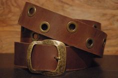 Brown Leather Belt  Eyelet  Size  Belt Buckle by CUERO925LEATHER, €25.00
