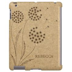 #Brown #dandelion on #cork vintage style custom #iPad #case #burntorange