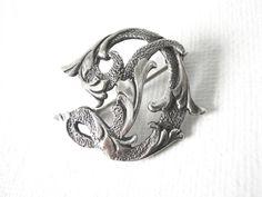 Vintage Guglielmo Cini Sterling Silver Initial D Brooch Pin