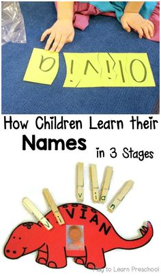 are 3 clear stages that children go through as they are learning their names in preschool-- recognize, spell and write them.There are 3 clear stages that children go through as they are learning their names in preschool-- recognize, spell and write them. Preschool Names, Preschool At Home, Preschool Kindergarten, Preschool Crafts, Preschool Writing, Name Writing Activities, Preschool Name Recognition, Head Start Preschool, 3 Year Old Preschool