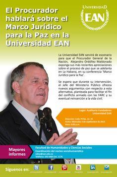 #PlanEAN: miércoles 4 de septiembre el Procurador hablará sobre el Marco Jurídico para la Paz. @PGN_COL