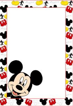 Marcos, Invitaciones, Tarjetas o Etiquetas de Mickey Mouse para Imprimir Gratis.  Hecho. Hecho