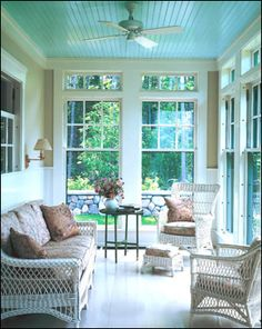 This is the inspiration for our sun room remodel, blue ceiling included!