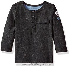 Baby Boy Clothes Robeez Baby Boys' Speckled Long Sleeve Top, Speckled-Dark Grey, 24 Mo