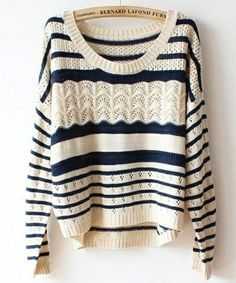 I found 'Beige Loose Stripe Sweater' on Wish, check it out!