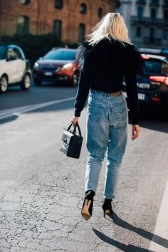 Seen on the street. This dressed-up denim look was spotted on the streets of Milan Fashion Week. Photo: Jonathan Daniel Pryce