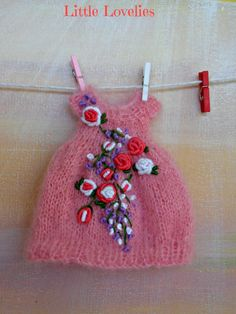 BLYTHE DOLL Dress - OOAK - Sweet knitted pink cotton dress with vintage embroidery feature by LittleLovelieShop on Etsy
