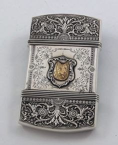 """Whiting antique sterling silver card case with applied gold dog """"medallion."""""""