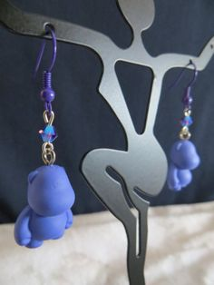 """Use coupon code """"HELLO2014"""" to get 20% off your purchase of $10 or more. Offer expires 1-12-14. / Purple Hippo Earrings Bub Kidrobot Munny With Purple Ear Wires  by DreamFancy / Jewelry / Accessory / Gift Idea"""