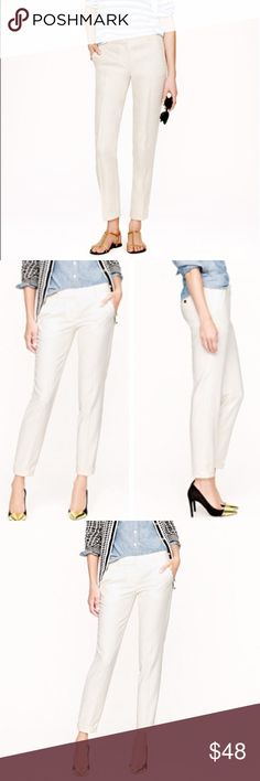 """J. Crew • Cream Café Capri pants J. Crew winter white/cream Cafe Capri pants size 0. Cropped ankle pant. Inseam approx 26.5"""", waist 15"""", rise 8"""", hips 18"""". Wear all year round! J. Crew Pants Ankle & Cropped"""
