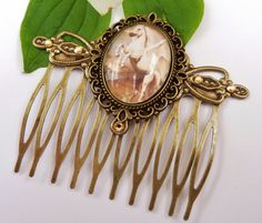 Bronze colored hair comb with glass cabochon you by Schmucktruhe, €18.50