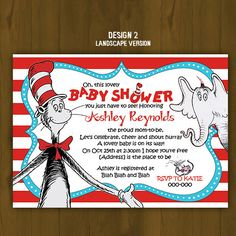 Splashbox Printables | Dr. Seuss Cat in the Hat Baby Shower Invitation | Online Store Powered by Storenvy