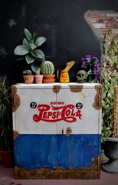 Items similar to PEPSI COLA METAL shelves cupboard storage painted cabinet larder kitchen dresser industrial on Etsy Annie Sloan Chalk Paint Old White, Napoleonic Blue, Pepsi Cola, Coke, American Pickers, Drinks Cabinet, Paint Effects, Metal Shelves, Cupboard Storage