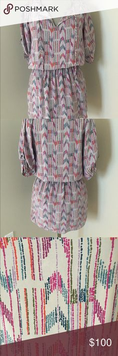 Parker Dress-Silk-Size Small-Grey Multicolor Parker Dress-100% Silk in fun Grey Multicolor print. Size Small. Fits closer to XS. Can be worn dressed up with heels or casual with sandals. Worn 2-3 times max. Parker Dresses Mini
