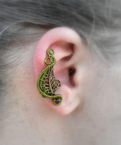 Leaf ear cuff Green ear cuff Fairy ear cuff Elf by AbstractFantasy, $24.00