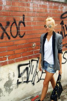 denim shorts & blazer