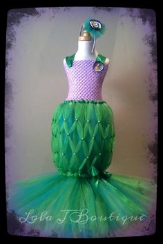 CHOOSE Your COLORS Mermaid Tutu Costume Dress SET by LolaJBoutique