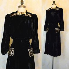 Vintage 40s Cocktail Party Dress XL XXL Black Velvet Gold Sequins Swing Plus Sz