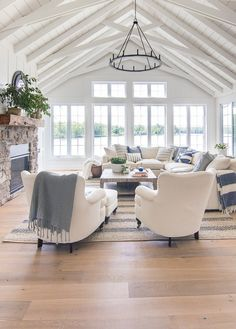 Whether your view overlooks rolling waves, a peaceful lake, or none of the above, you can still incorporate elements of rustic beach decor into your home to evoke a laidback, seaside style that'll instantly relax you. Best of all: you don't need a house in Cape Cod to make the beachy look work. #hunkerhome #beachhome #beachdecor #rustic #beachy Beach Living Room, Coastal Living Rooms, Home Living Room, Living Room Designs, Living Room Decor, White Living Room Furniture, Good Living Room Colors, Gray Furniture, Rooms Furniture