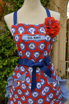 {{For the #Navy #Wives}} Don't Give Up The Ship Navy Inspired Print Apron by OliviabyDesign, $27.95.