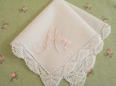 Monogrammed Handkerchief as party favors for bridal - without lace