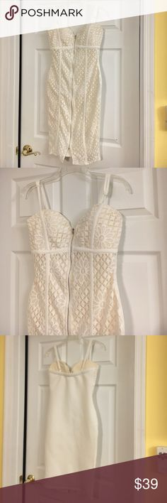 Off white floral lace dress Brand New never worn off-white floral lace dress. Full zip in the front. Boutique Dresses Midi