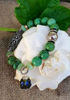 Turquoise beaded bracelet with vintage by CountryChicCharms, $36.00