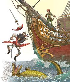 Peter Pan _ Part 2 by Giacobino.deviantart.com - Hook falls to the crocodile