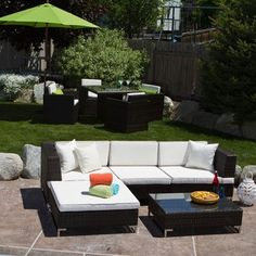 Miami Beach 5-piece Outdoor Seating Set | Overstock.com Shopping - The Best Deals on Sofas, Chairs & Sectionals