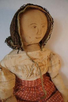 Outstanding early homespun linen doll  28""