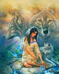 The painting depicts a portrait of a Native American woman with her wolf spirit guide standing behind her. Native American Wolf, Native American Pictures, Native American Artwork, American Indian Art, Native American History, American Indians, Indian Wolf, Native Indian, Native Art