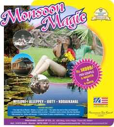 Mysore-Ooty-Kodaikanal 3 awesome places in one package!!! Panoramic Group offers an amazing monsoon package to these 3 beautiful places just for Rs.14999/- per couples. Package includes. 5 Nights and 6 Days accommodation and meal at 3 starred United-21 Hotels.