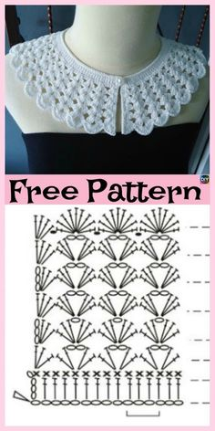 Best 12 Crochet Lace Collar FREE Pattern from dancingbarefoot (Mingky Tinky Tiger + the Biddle Diddle Dee – SkillOfKing – SkillOfKing. Crochet Collar Pattern, Col Crochet, Poncho Au Crochet, Crochet Lace Collar, Crochet Motifs, Crochet Stitches Patterns, Knitting Patterns, Crochet Tops, Diy Crafts Crochet