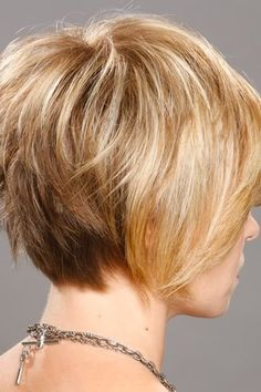 This short straight hairstyle has a distinctively modern flare--it's cut short at the hairline and left longer at the sides and top. The side-swept bangs make this a standout style. If this longer style of bang doesn't work for you, you can wear this style with a shorter more shaped bang.