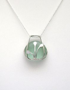 Sea Glass Jewelry  Sterling Caged Aqua Sea Glass by SignetureLine, $85.00