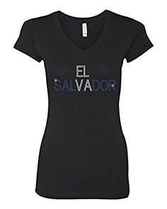 Amazon.com: El Salvador Rhinestone Bling Stud Women's V-Neck T-Shirts Tee: Clothing