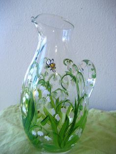 hand painted glass pitcher with lily of the valley via Etsy.